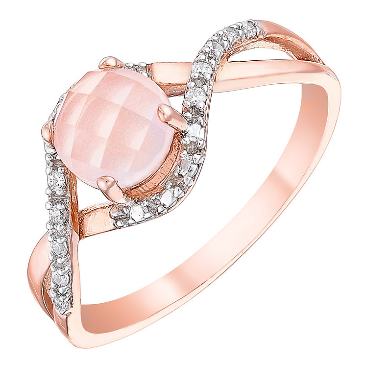 Pink Plated Rhodium Semi Precious Stone Ring - Product number 4555465