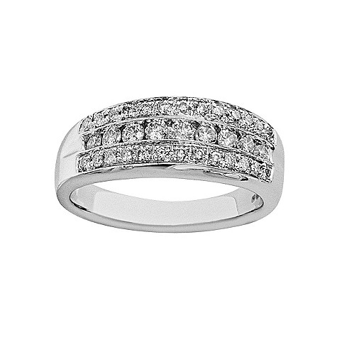 18ct white gold half carat pave-set diamond ring