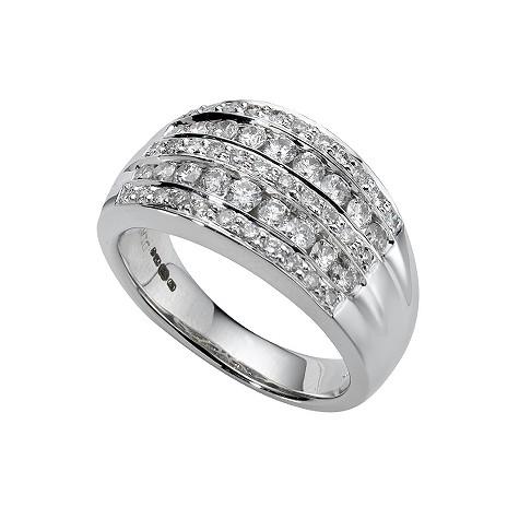18ct white gold one carat pave-set diamond ring