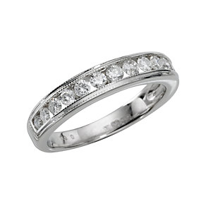 18ct white gold quarter carat diamond half-eternity ring - Product number 4560787