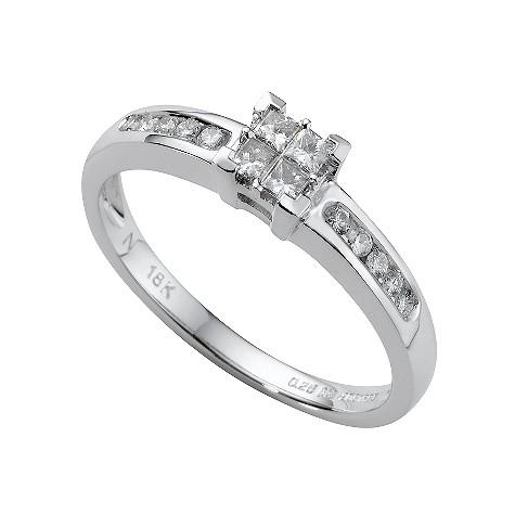 18ct white gold quarter carat princess cut diamond ring