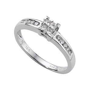 18ct white gold quarter carat princess cut diamond ring - Product number 4561716