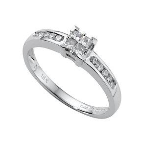 18ct white gold quarter carat princess cut diamond ring - Product number 4561716