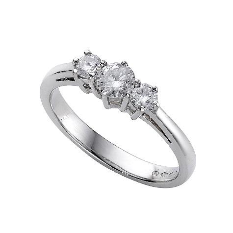 Platinum half carat diamond three stone ring