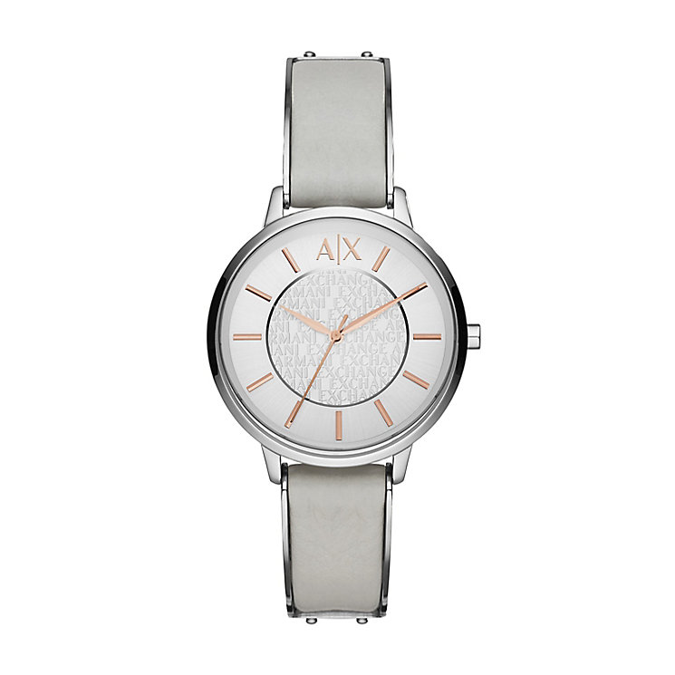 Armani Exchange Ladies' Silver Dial Grey Leather Strap ...