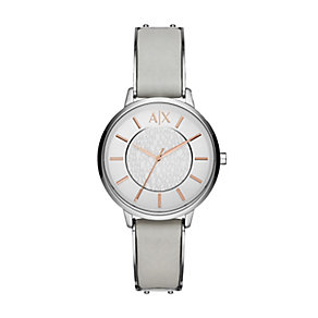 Armani Exchange Ladies' Silver Dial Grey Leather Strap Watch - Product number 4570707