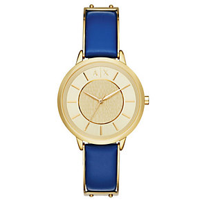 Armani Exchange Ladies' Gold-Plated Blue Leather Strap Watch - Product number 4570723