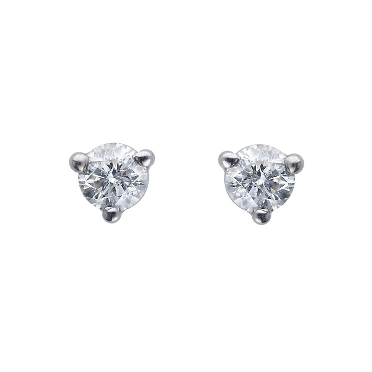 9ct white gold quarter carat diamond solitaire earrings - Product number 4571789