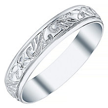 9ct White Gold Engraved 4mm Band - Product number 4573390