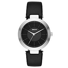 DKNY Ladies' Stainless Steel Black Leather Strap Watch - Product number 4573579