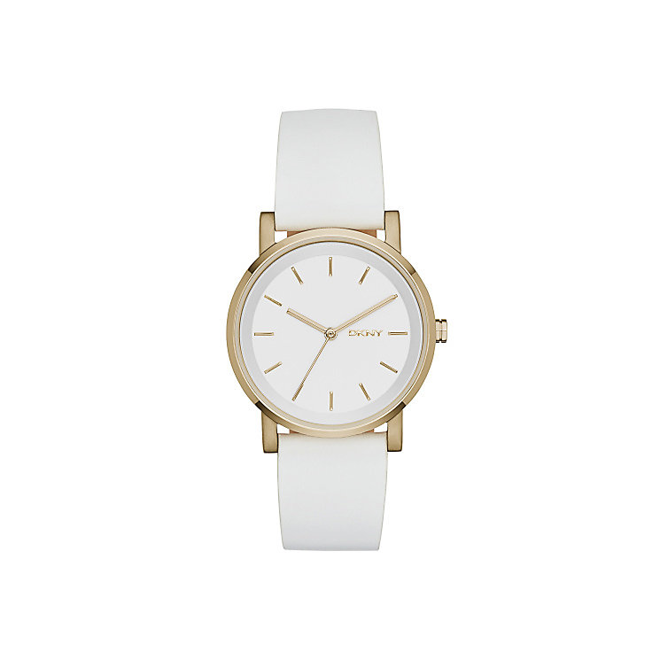 DKNY Ladies' Gold-Plated White Leather Strap Watch - Product number 4574346