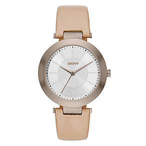 DKNY Ladies' Gold-Plated Brown Leather Strap Watch - Product number 4575040