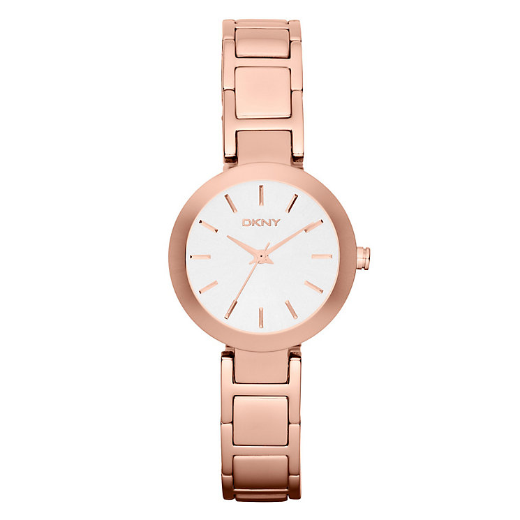 DKNY Ladies' White Dial Rose Gold Ion-Plated Bracelet Watch - Product number 4575113