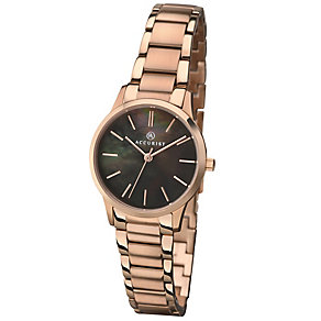 Accurist Ladies' Black Dial Rose Gold-Plated Bracelet Watch - Product number 4575156