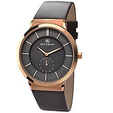 Accurist Men's Rose Gold-Plated Brown Leather Strap Watch - Product number 4575229