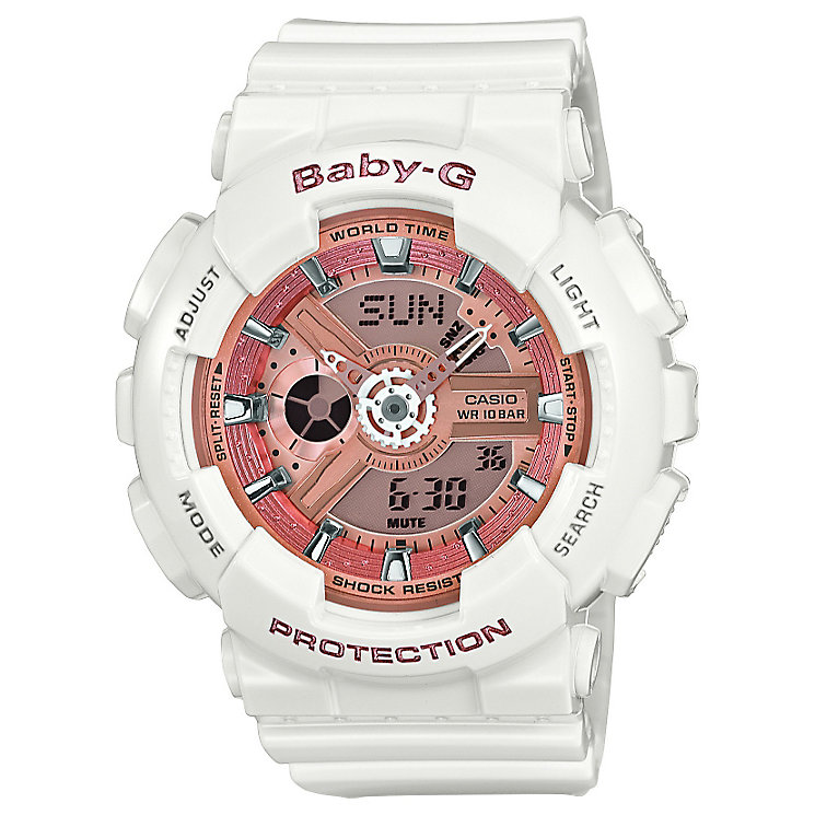 Casio Baby-G Pink Dial White Resin Strap Watch - Product number 4575377