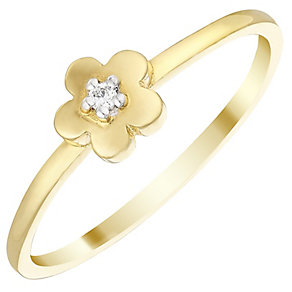 9ct Gold Cubic Zirconia Flower Ring Size H - Product number 4578449