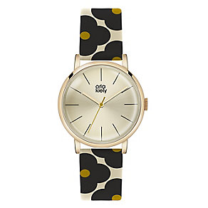 Orla Kiely Ladies' Flower Pattern Leather Strap Watch - Product number 4578724