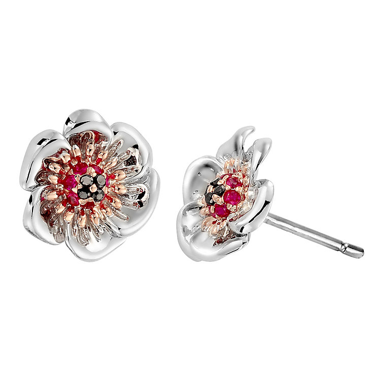 Clogau Gold Silver & 9ct Rose Gold Welsh Poppy Stud Earrings - Product number 4580850