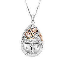 Clogau Gold Silver & 9ct Rose Gold Floral Egg Locket Pendant - Product number 4580877
