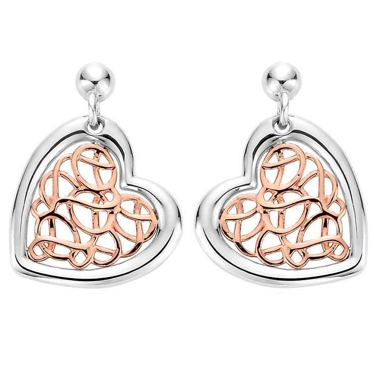 Clogau Gold Welsh Royalty Silver & Rose Gold Drop Earrings - Product number 4581008