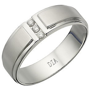 Men's 9ct White Gold 0.10ct Diamond Signet Ring - Product number 4588916