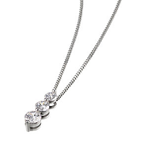Leo Diamond 18ct white gold 0.50ct I-SI2 three stone pendant - Product number 4597206