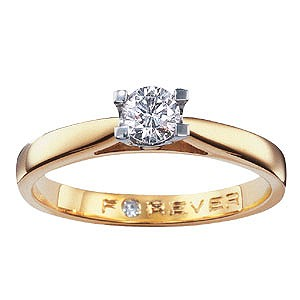 Forever Diamonds - 18ct Gold 1/4 Carat Diamond Solitaire Ring