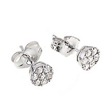 9ct white gold quarter carat diamond cluster stud earrings - Product number 4604377