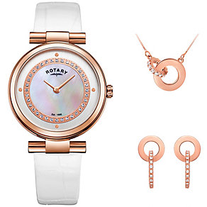 Rotary Ladies' White Leather Strap Watch & Necklace Set - Product number 4607031