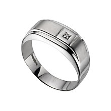 Men's 9ct white gold diamond ring - Product number 4607538