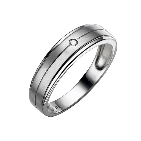 Men's 9ct white gold diamond ring