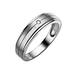 Men's 9ct white gold diamond ring - Product number 4607694
