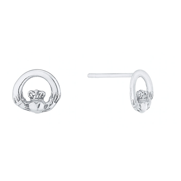 Sterling Silver Claddagh Stud Earrings - Product number 4607872