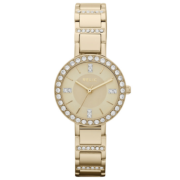 Relic Ladies' Stone Set Gold-Plated Bracelet Watch - Product number 4608186