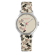 Radley Ladies' Dog Print Cream Leather Strap Watch - Product number 4610369