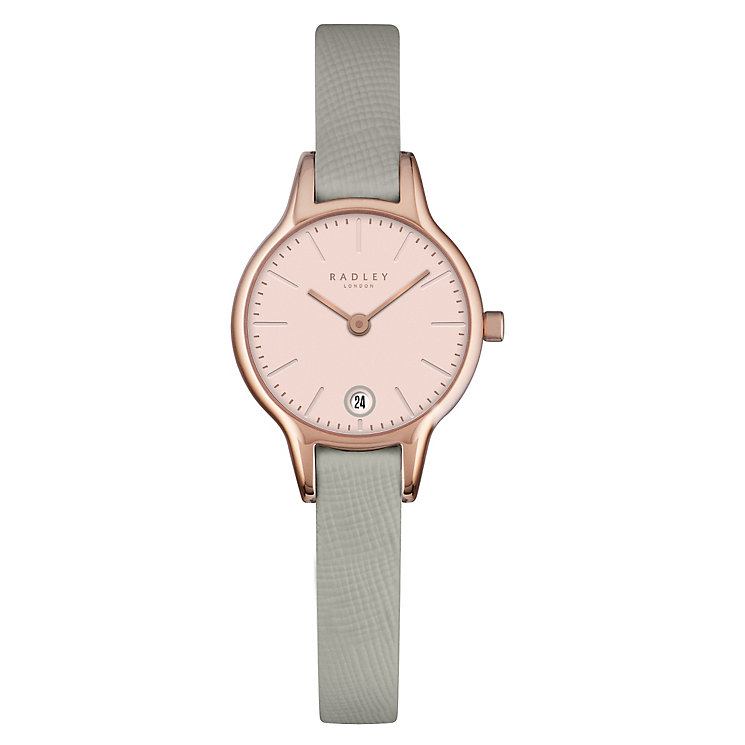 Radley Ladies' Rose Gold-Plated Grey Leather Strap Watch - Product number 4610423