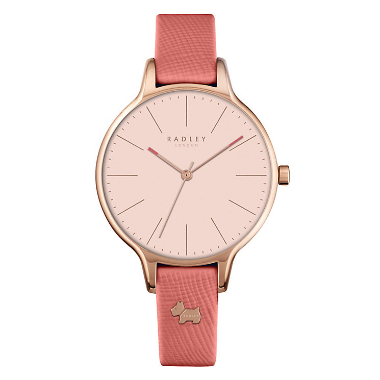 Radley Ladies' Gold-Plated Orange Leather Strap Watch - Product number 4610431