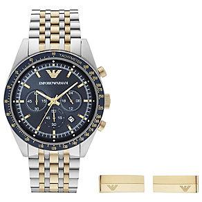 Emporio Armani Men's Bracelet Watch Gold Tone Cufflink Set - Product number 4612817