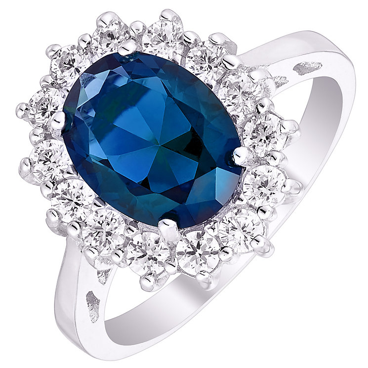 Sterling Silver Blue Glass & Cubic Zirconia Cluster Ring L - Product number 4614550