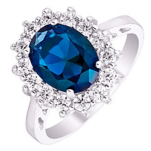 Sterling Silver Blue Glass & Cubic Zirconia Cluster Ring N - Product number 4614569