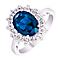 Sterling Silver Blue Glass & Cubic Zirconia Cluster Ring P - Product number 4614577