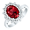 Sterling Silver Red Glass & Cubic Zirconia Cluster Ring L - Product number 4614593
