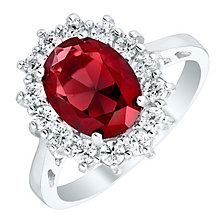 Sterling Silver Red Glass & Cubic Zirconia Cluster Ring N - Product number 4614607