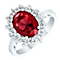 Sterling Silver Red Glass & Cubic Zirconia Cluster Ring P - Product number 4614623