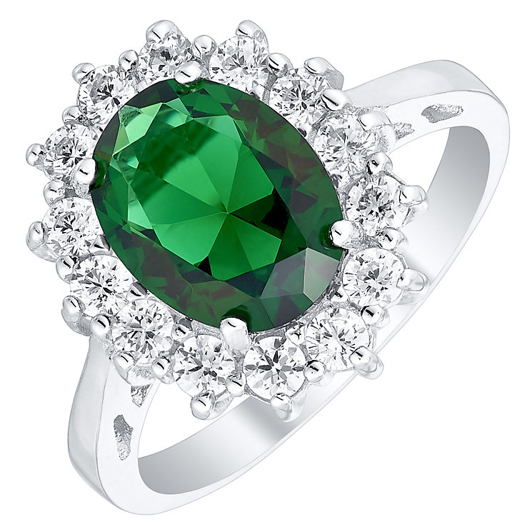 Sterling Silver Green Glass & Cubic Zirconia Cluster Ring P - Product number 4614666
