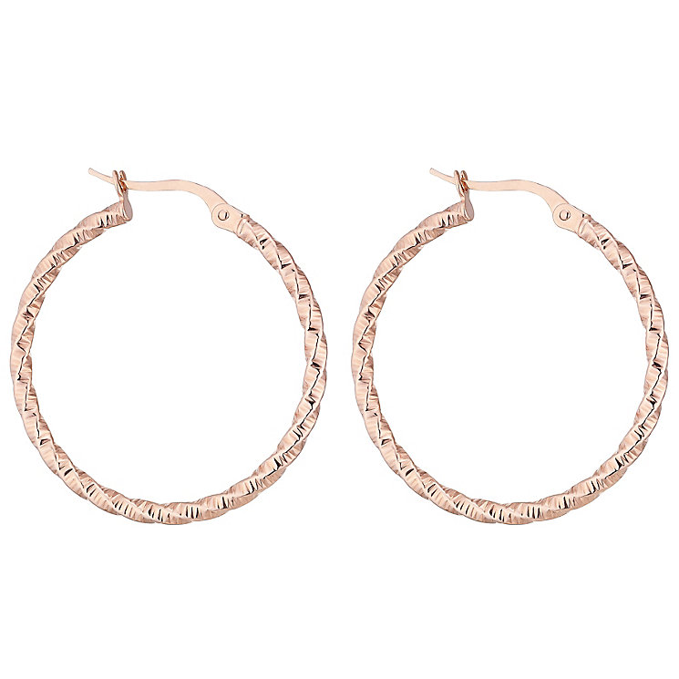 9ct Rose Gold Twist Creole Hoop Earrings - Product number 4614836