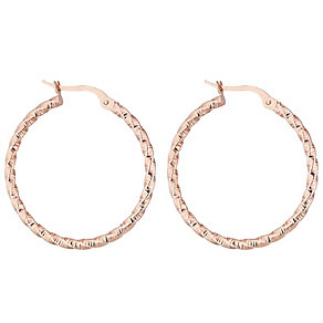 9ct Rose Gold Twist Creole Hoop Earrings - Product number 4614836