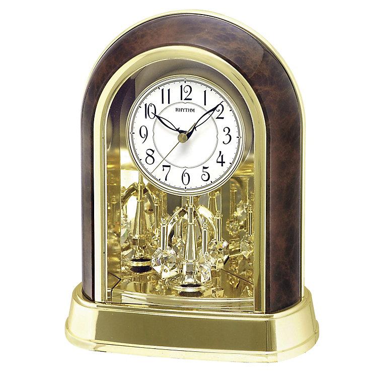 Rhythm Mantel Clock With Swarovski Elements Pendulum