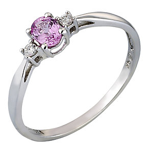 White Gold Pink Sapphire and Diamond Ring - Product number 4619811